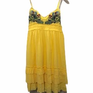 Yellow V-neck Sundress Embroidered Bodice Marigold